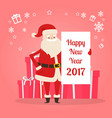 happy new year 2017 banner in santas hand vector image