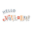 hello november in paper cut style vector image vector image