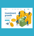 isometric investment growth investors carry money vector image vector image
