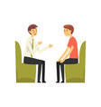 man talking to manager at bank office bank worker vector image