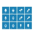 Microphone icons on blue background vector image vector image