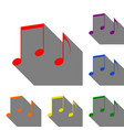 music notes sign set of red orange yellow vector image vector image
