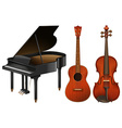 Musical instruments with piano and guitar vector image vector image
