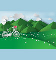 paper art of green landscape mountain view with vector image vector image