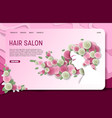 paper cut hair salon landing page website vector image vector image