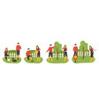 planting tree family working in garden couple vector image