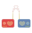 pretty pink and blue radio with heart vector image