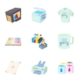 Printing in polygraphy icons set cartoon style vector image