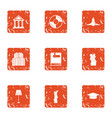 retro style icons set grunge style vector image vector image