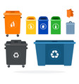 set garbage containers for recycling different vector image vector image