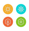 set of seasons flat icons rounded style vector image