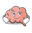 smirking brain character cartoon mascot vector image vector image
