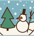 snowman cold christmas season winter man in hat vector image