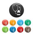 stethoscope medical bottle icons set color vector image