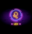 the leo zodiac symbol in neon style on a wall vector image vector image