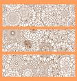 vertical flyers with orange doodle pattern vector image
