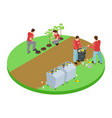 volunteers take out the trash in the park and vector image vector image