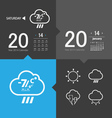 Weather icons and calendar vector image vector image