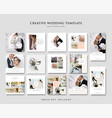 wedding social media post design template vector image vector image