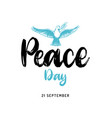 world peace day poster with handwritten font vector image