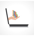 hand holding colorful arrows comes from laptop vector image