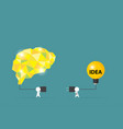 businessmen try to connect brain and light bulb vector image