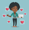 african woman with like social network buttons vector image vector image