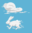 animal clouds silhouette rabbit pattern vector image vector image
