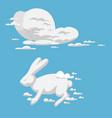 Animal clouds silhouette rabbit pattern