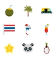 Attractions of Thailand icons set flat style vector image vector image