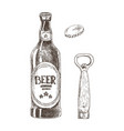 beer and bottle opener with cap isolated on white vector image vector image