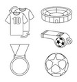 black and white flat soccer elements set vector image vector image
