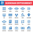 blockchain cryptocurrency icons vector image vector image