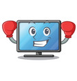 boxing lcd tv cartoon in living room vector image vector image