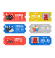 cartoon cinema tickets small set vector image vector image