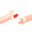cartoon hand give red heart to another vector image