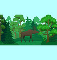 cartoon moose in forest landscape deer silhouette vector image
