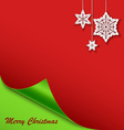 Christmas card with the bent corner and stars vector image vector image