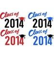 Class of 2014 school graduation cap vector image vector image