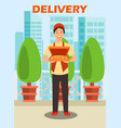 courier carrying pizza box vector image vector image