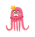 cute cartoon pink octopus princess character vector image