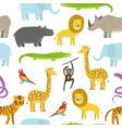 cute childish pattern with cartoon jungle animals vector image