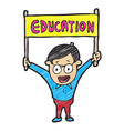 digitally drawn children character and education vector image vector image