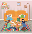 family spend leisure time together at home happy vector image vector image