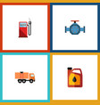 flat icon oil set of jerrycan flange van and vector image vector image