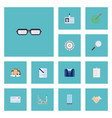 flat icons magnifier office envelope and other vector image vector image