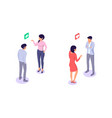 flat young woman and man characters talk with chat vector image