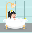 girl characters in in the bathroom vector image
