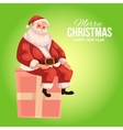Greeting card with cartoon Santa Claus sitting on vector image