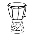 hand drawn djembe drums doodle isolated on white vector image